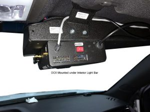in-car video camera mounted on interior light bar