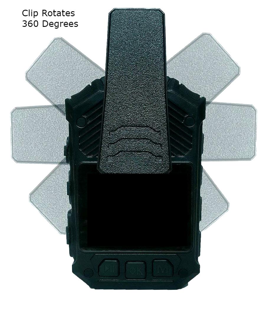 Body camera Crime Cam clip rotates